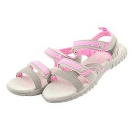 Sandałki dziewczęce sportowe American Club HL14 grey/pink szare różowe 3