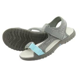 Sandałki z wkładką skórzaną American Club RL10 grey/blue niebieskie szare 4