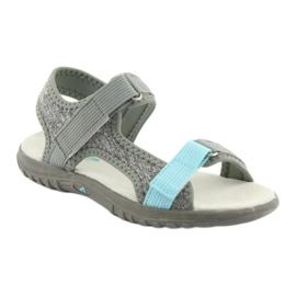 Sandałki z wkładką skórzaną American Club RL10 grey/blue niebieskie szare 1