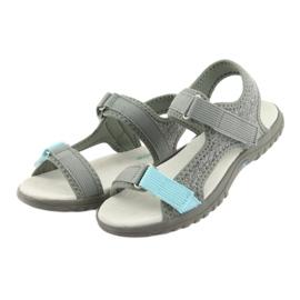 Sandałki z wkładką skórzaną American Club RL10 grey/blue niebieskie szare 3