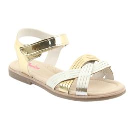 Sandałki dziewczęce metaliczne American Club GC23 białe szare żółte 1