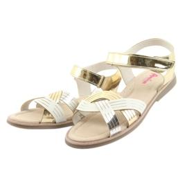 Sandałki dziewczęce metaliczne American Club GC23 białe szare żółte 3