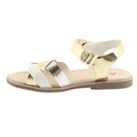 Sandałki dziewczęce metaliczne American Club GC23 białe szare żółte 2