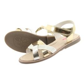 Sandałki dziewczęce metaliczne American Club GC23 białe szare żółte 4