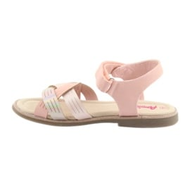Sandałki dziewczęce metaliczne American Club GC23 różowe 2