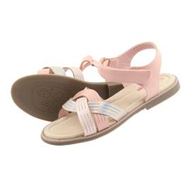 Sandałki dziewczęce metaliczne American Club GC23 różowe 4