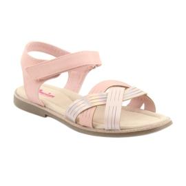 Sandałki dziewczęce metaliczne American Club GC23 różowe 1