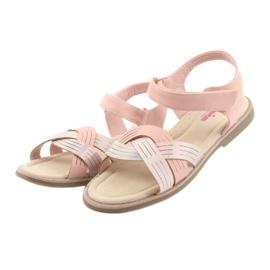 Sandałki dziewczęce metaliczne American Club GC23 różowe 3