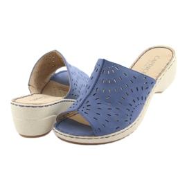 Klapki damskie koturno Caprice 27351 jeans niebieskie 4