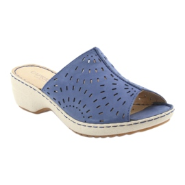 Klapki damskie koturno Caprice 27351 jeans niebieskie 1