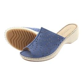 Klapki damskie koturno Caprice 27351 jeans niebieskie 5