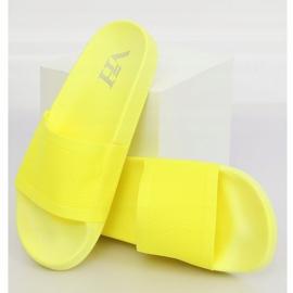 Klapki z dzianinowym paskiem żółte PT-110 Yellow 1