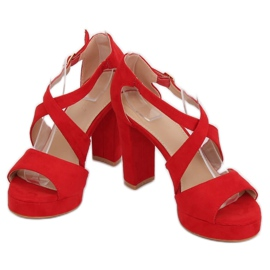 Sandałki na platformie czerwone VV-23 Red 1