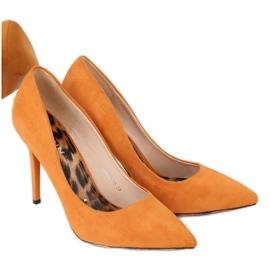 Czółenka na szpilce camel 9003-18 Orange wielokolorowe 1
