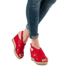 Best Shoes Czerwone Sandały Espadryle 5