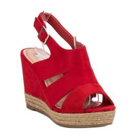 Best Shoes Czerwone Sandały Espadryle 3