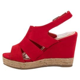 Best Shoes Czerwone Sandały Espadryle 4
