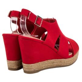 Best Shoes Czerwone Sandały Espadryle 1