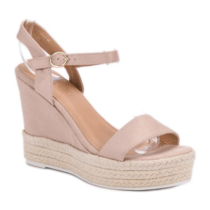 Ideal Shoes brązowe Stylowe Sandałki Na Koturnie zdjęcie 3