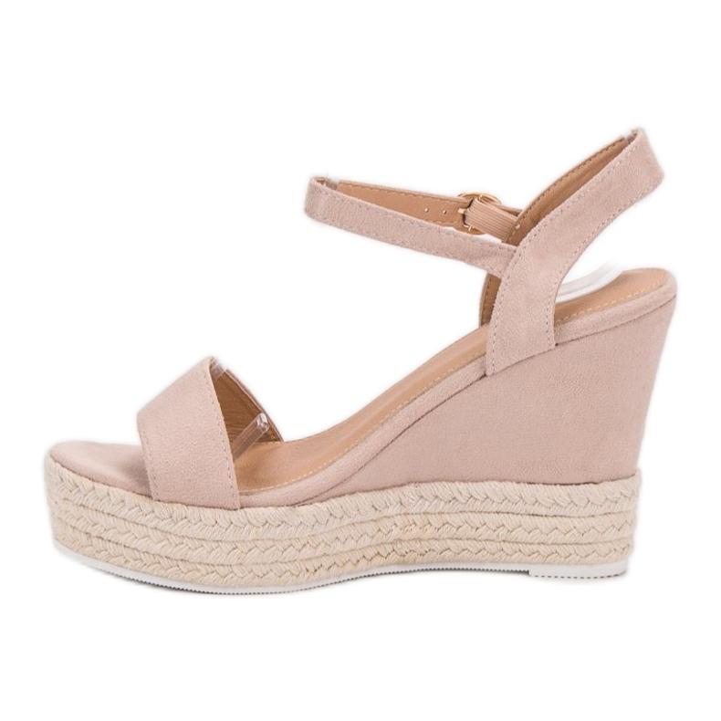 Ideal Shoes brązowe Stylowe Sandałki Na Koturnie zdjęcie 4