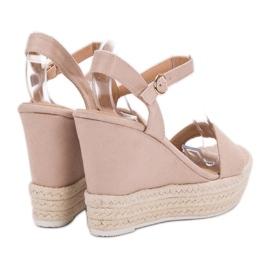 Ideal Shoes Stylowe Sandałki Na Koturnie brązowe 1