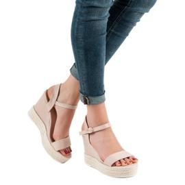 Ideal Shoes Stylowe Sandałki Na Koturnie brązowe 5