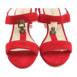 Sandały na słupku czerwone Caprice 28303 4