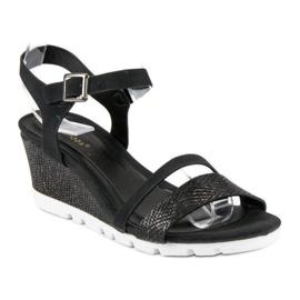 Ideal Shoes Czarne Sandały Na Koturnie 8