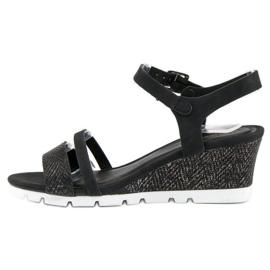 Ideal Shoes Czarne Sandały Na Koturnie 2