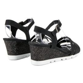 Ideal Shoes Czarne Sandały Na Koturnie 3