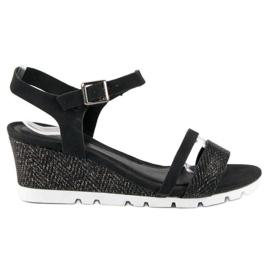 Ideal Shoes Czarne Sandały Na Koturnie 7