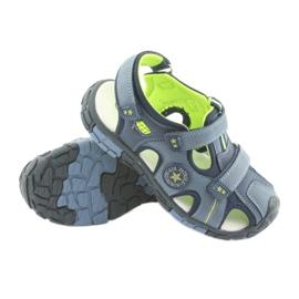 American Club Buty dziecięce sandałki z wkładką skórzaną American DR02 granatowe niebieskie zielone 3