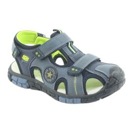 American Club Buty dziecięce sandałki z wkładką skórzaną American DR02 granatowe niebieskie zielone 1