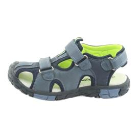 American Club Buty dziecięce sandałki z wkładką skórzaną American DR02 granatowe niebieskie zielone 2