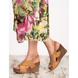 SHELOVET Zamszowe Sandały brązowe 2