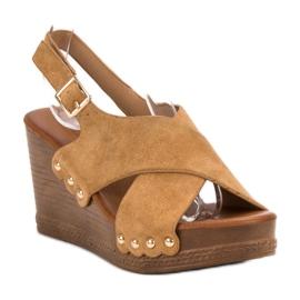 SHELOVET Zamszowe Sandały brązowe 3
