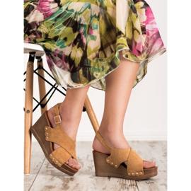 SHELOVET Zamszowe Sandały brązowe 5