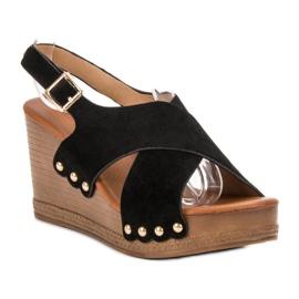 SHELOVET Zamszowe Sandały czarne 3