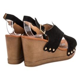SHELOVET Zamszowe Sandały czarne 1