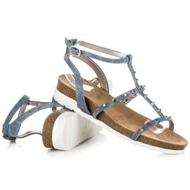 Sandałki Na Koturnie KYLIE niebieskie 4