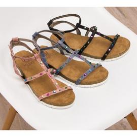 Sandałki Na Koturnie KYLIE niebieskie 5