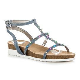 Sandałki Na Koturnie KYLIE niebieskie 1