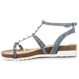 Sandałki Na Koturnie KYLIE niebieskie 2