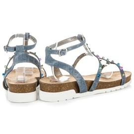 Sandałki Na Koturnie KYLIE niebieskie 3