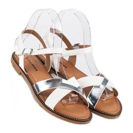 L. Lux. Shoes Stylowe Białe Sandały szare 3