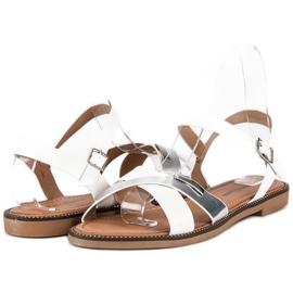 L. Lux. Shoes Stylowe Białe Sandały szare 1