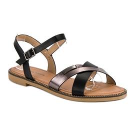 L. Lux. Shoes Stylowe Czarne Sandały 2
