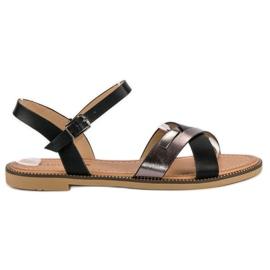 L. Lux. Shoes Stylowe Czarne Sandały 1