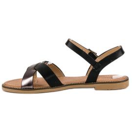L. Lux. Shoes Stylowe Czarne Sandały 3