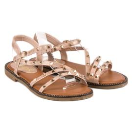 SDS Płaskie Sandały Z Ćwiekami różowe 1